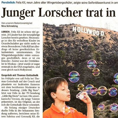 Junger Lorscher trat in Hollywood auf